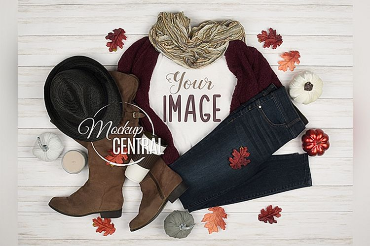 Women's Blank White T-Shirt Styled Apparel Fall Shirt Mockup example image 1