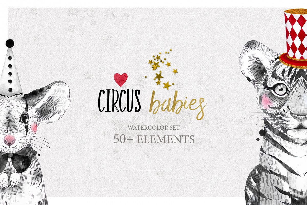CIRCUS BABIES watercolor set example image 1
