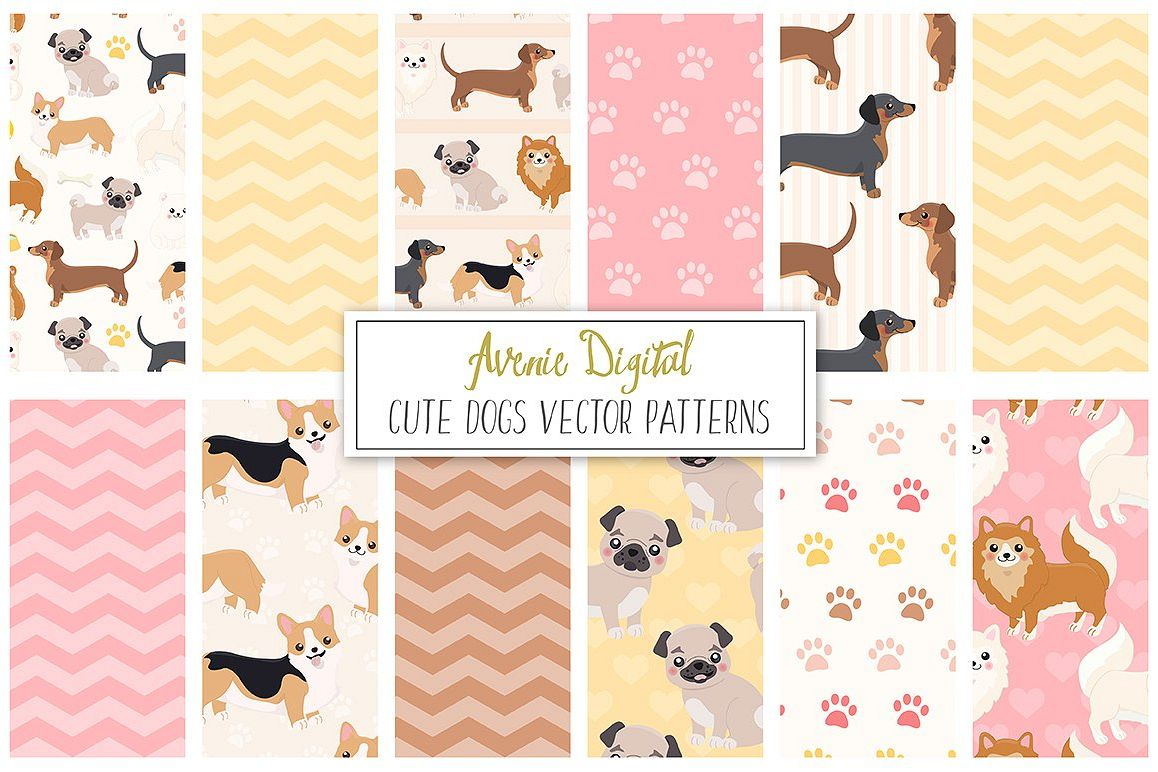Cute Dogs Digital Paper and Vector Patterns example image 1