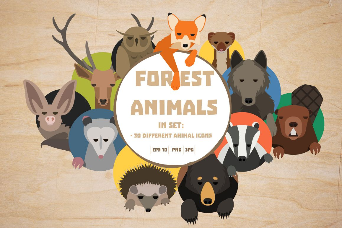 Vector Forest animals 30 icons  example image 1
