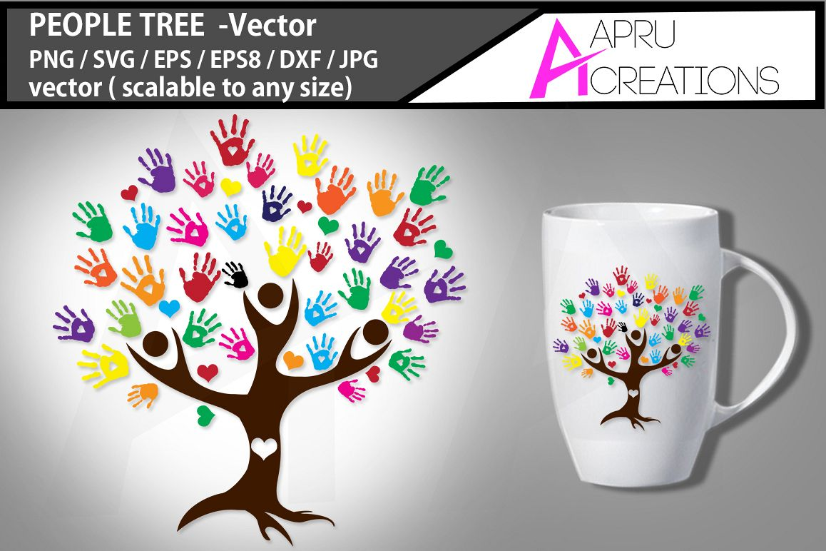 people tree vector clipart / people tree silhouette / people tree SVG / hand prints svg example image 1