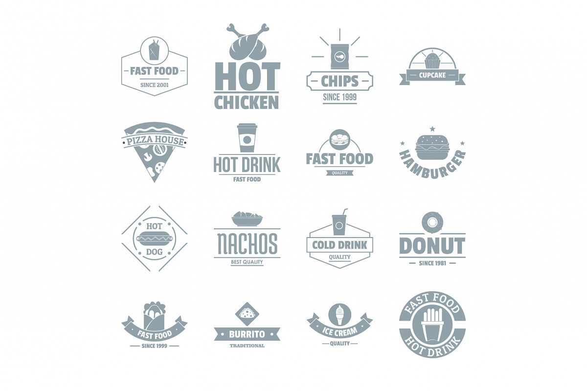 Fast food logo icons set, simple style example image 1