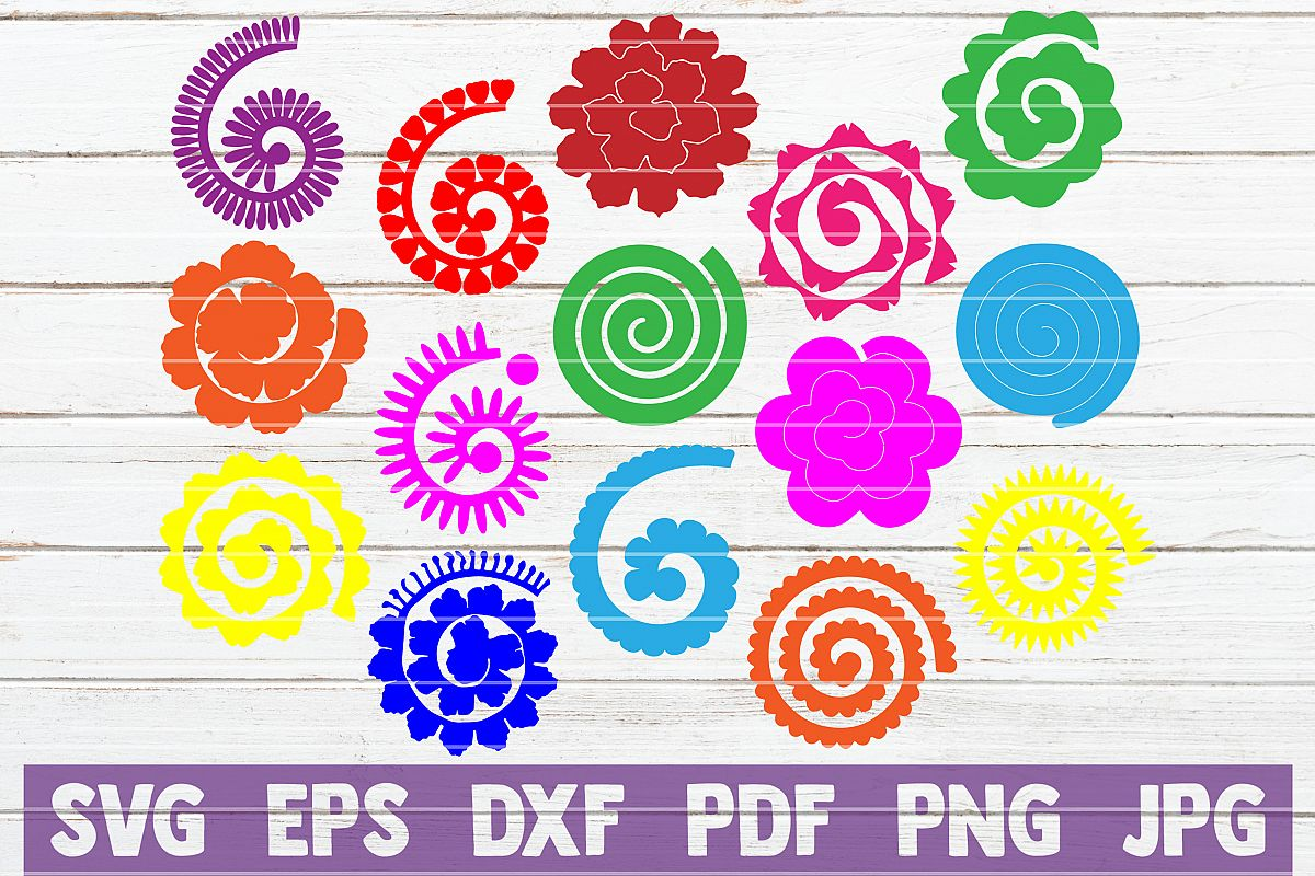 15 Rolled Paper Flowers Svg Cut Files Instant Download
