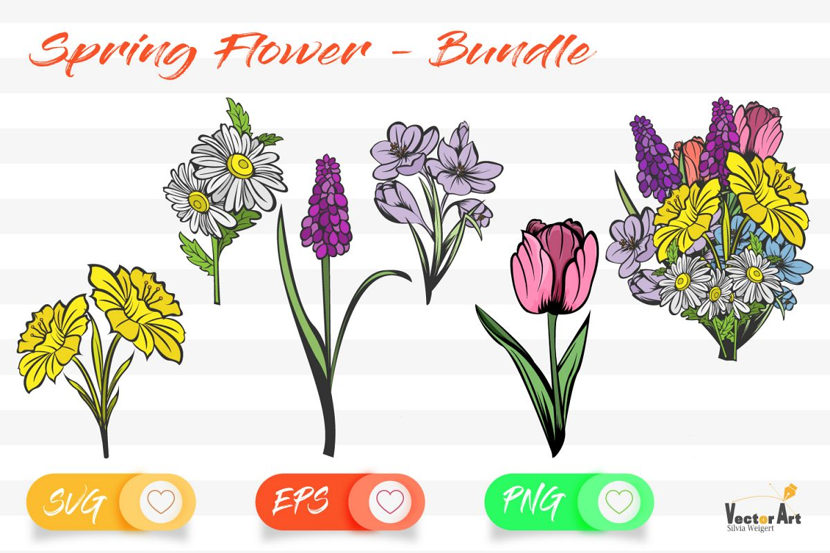 Spring Flower - Bundle - Cut Files with 2 Layers example image 1