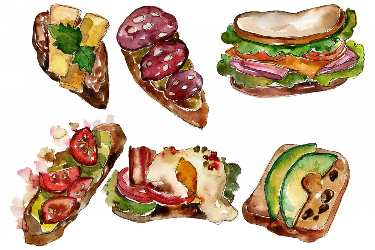 Sandwich sausage Watercolor png example image 1