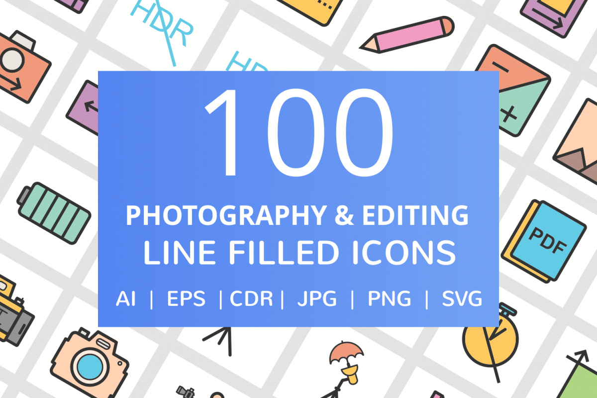 100 Photography & Picture Filled Line Icons example image 1