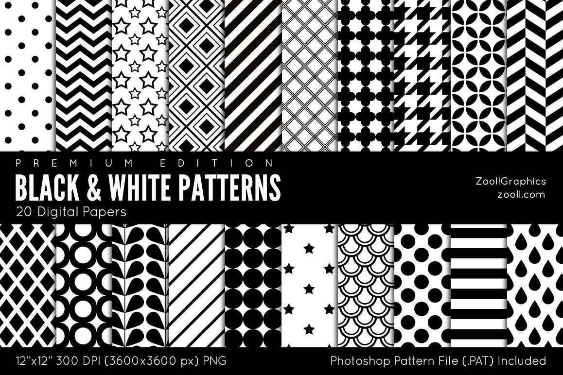 Black And White Patterns Digital Papers example image 1
