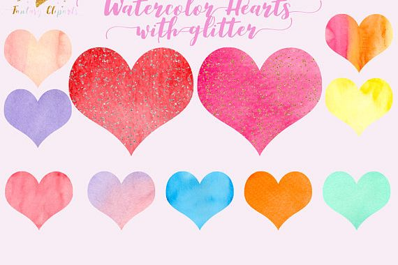 Watercolor hearts clipart example image 1