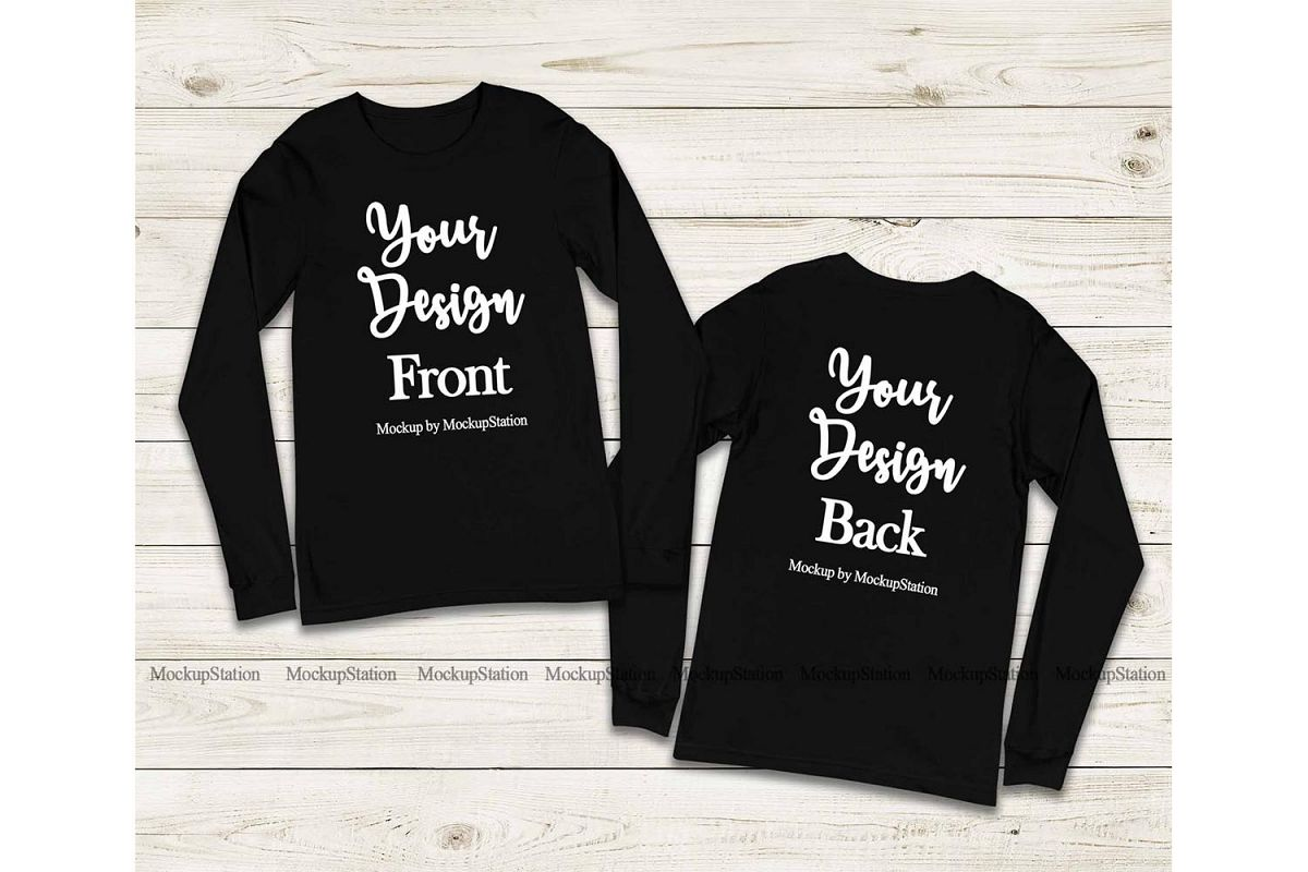 Front & Back Bella Canvas 3501 Black Long Sleeve Mockup example image 1