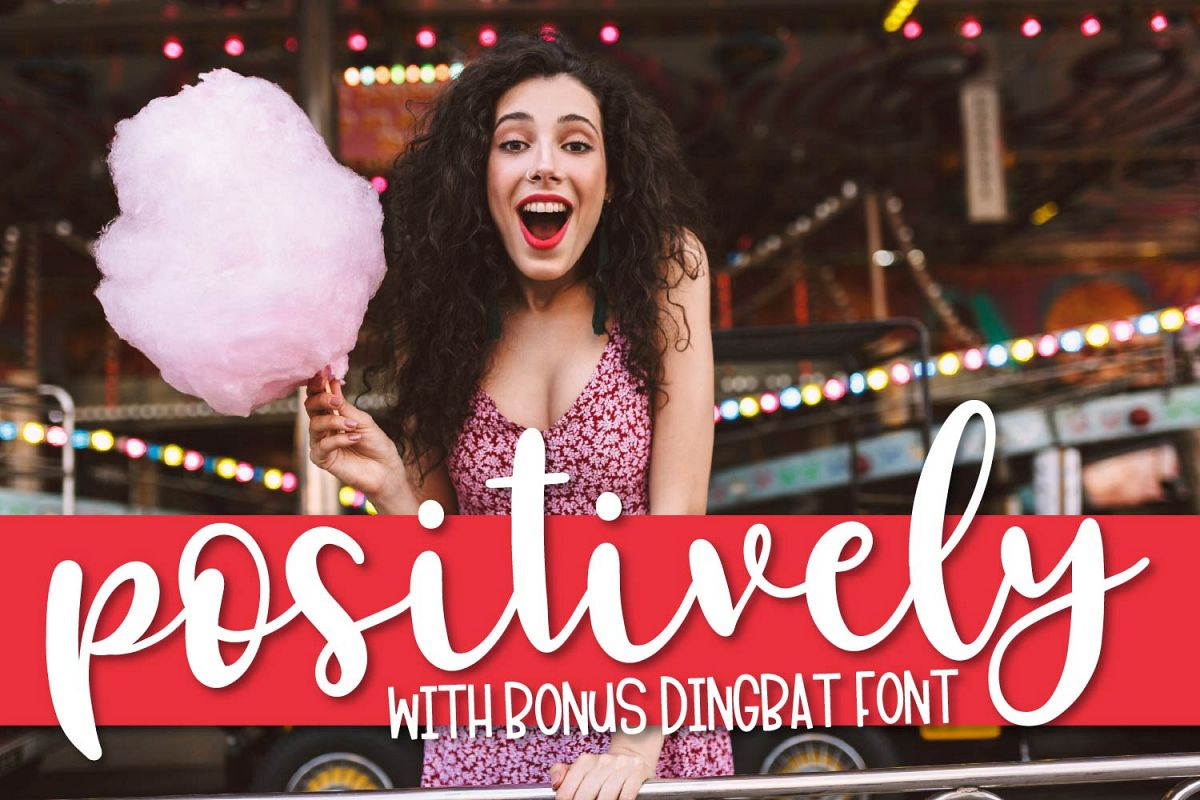 FB - Positively - A Script Font & Dingbat Font Duo example image 1