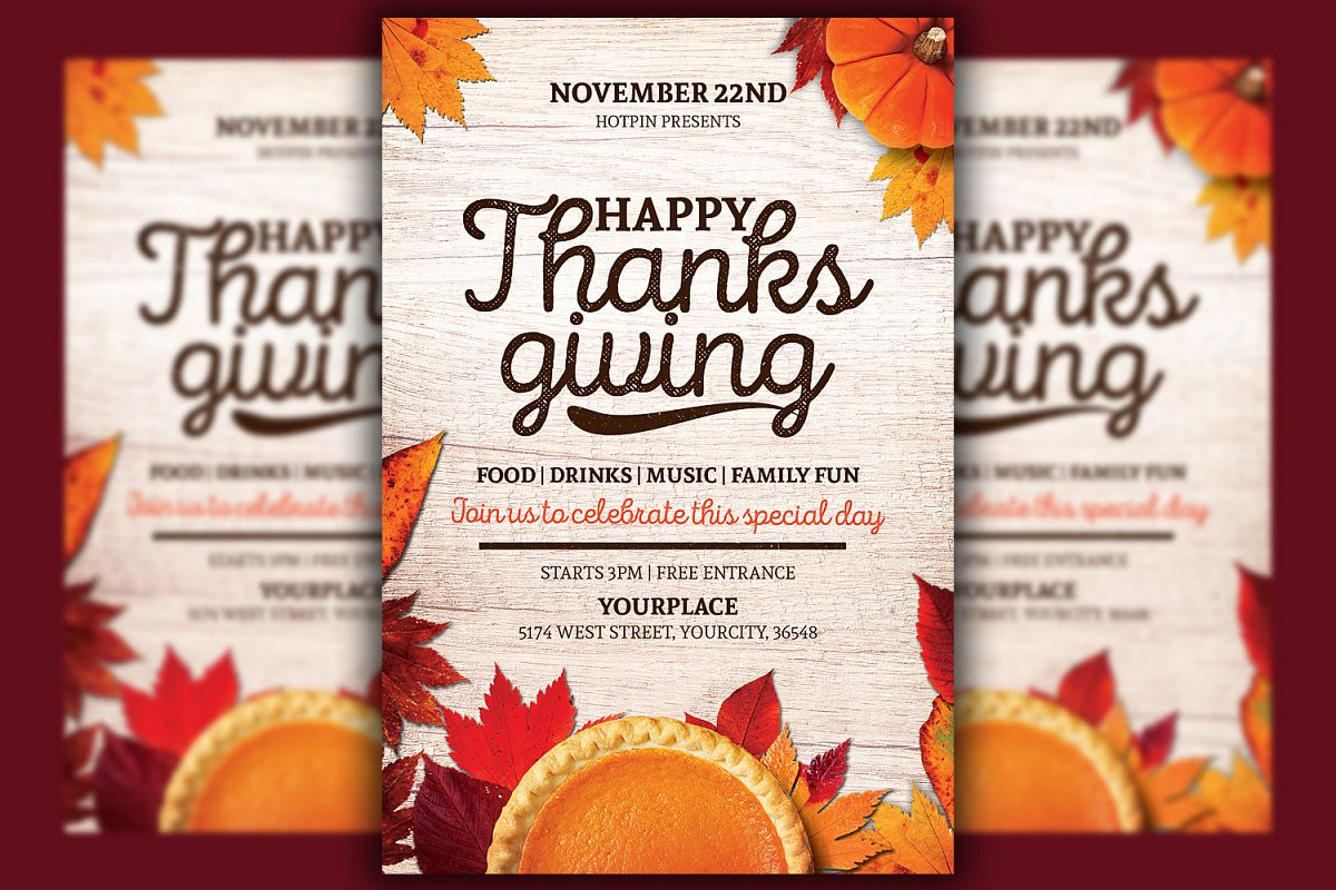 image regarding Free Printable Thanksgiving Flyer Templates known as Thanksgiving Flyer Template
