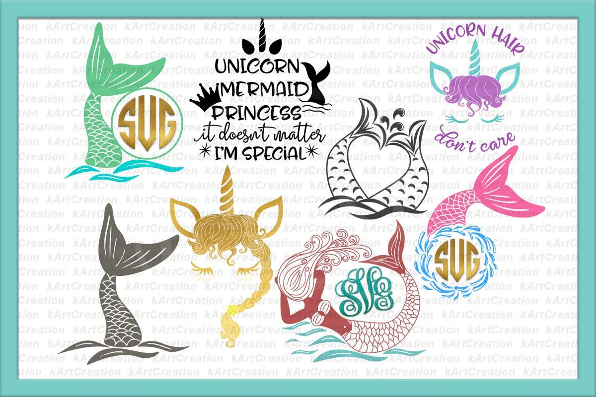 Unicorn Mermaid bundle svg dxf files clipart printable png example image 1