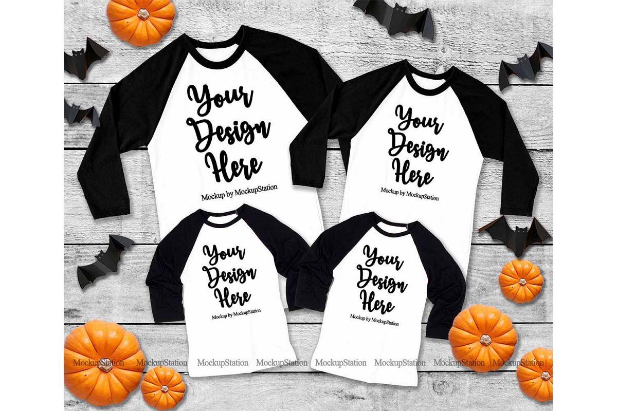 Halloween Matching Family Black Raglan Mockup, Adult Baby example image 1
