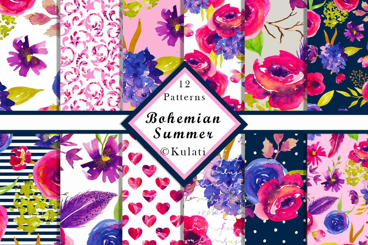Bohemian Summer Watercolor Floral Patterns example image 1