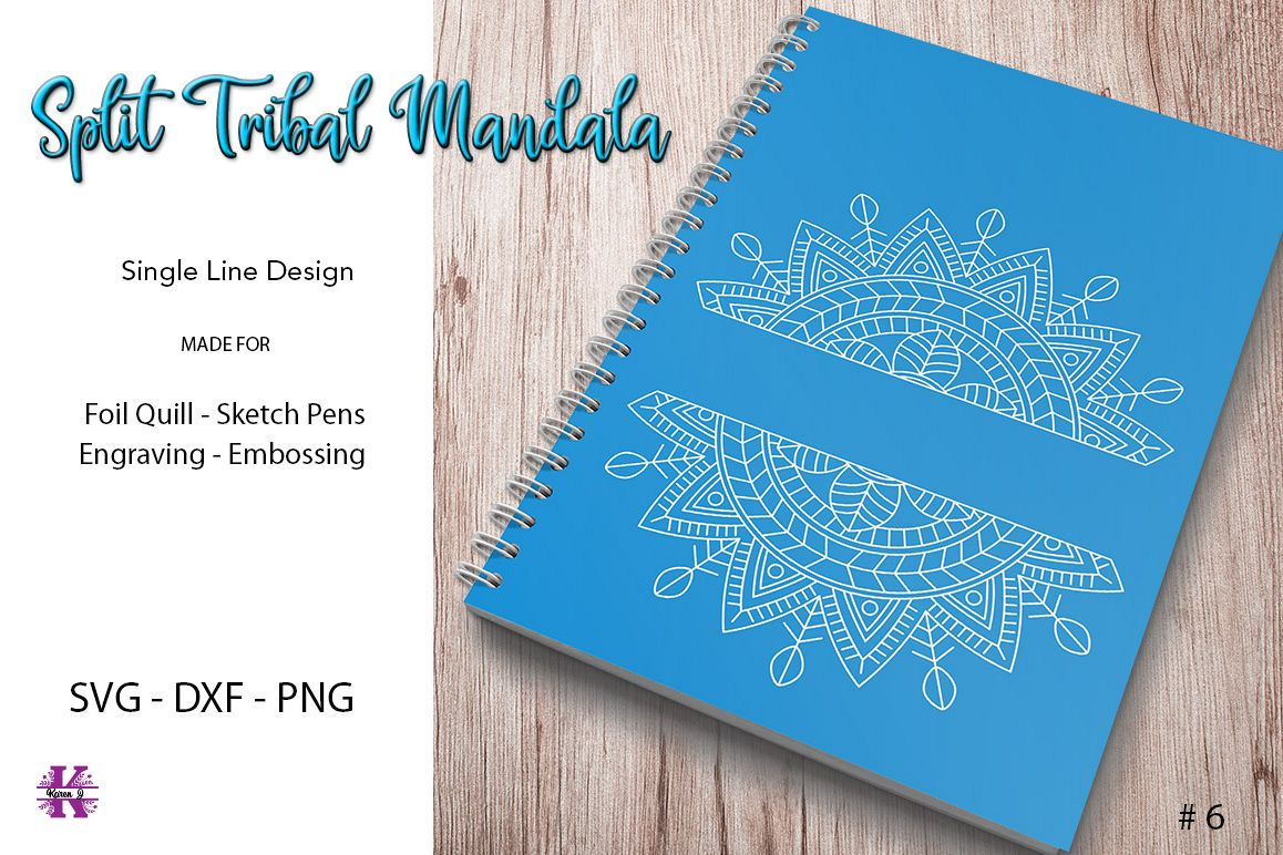 Split Tribal Mandala #6 for Foil Quill Sketch Pen Engraving example image 1