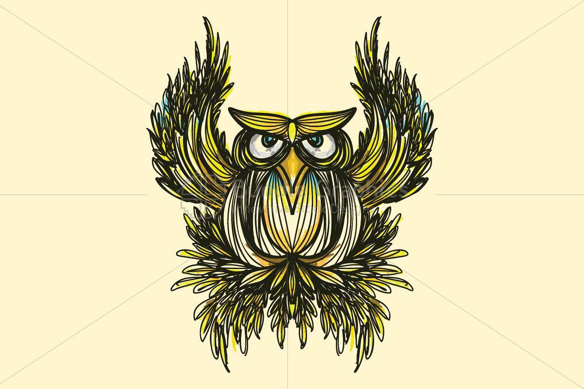 Owl -  Freehand Creative Linear Artistic Composition example image 1