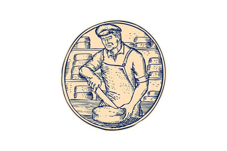 Cheesemaker Cutting Cheddar Cheese Etching example image 1