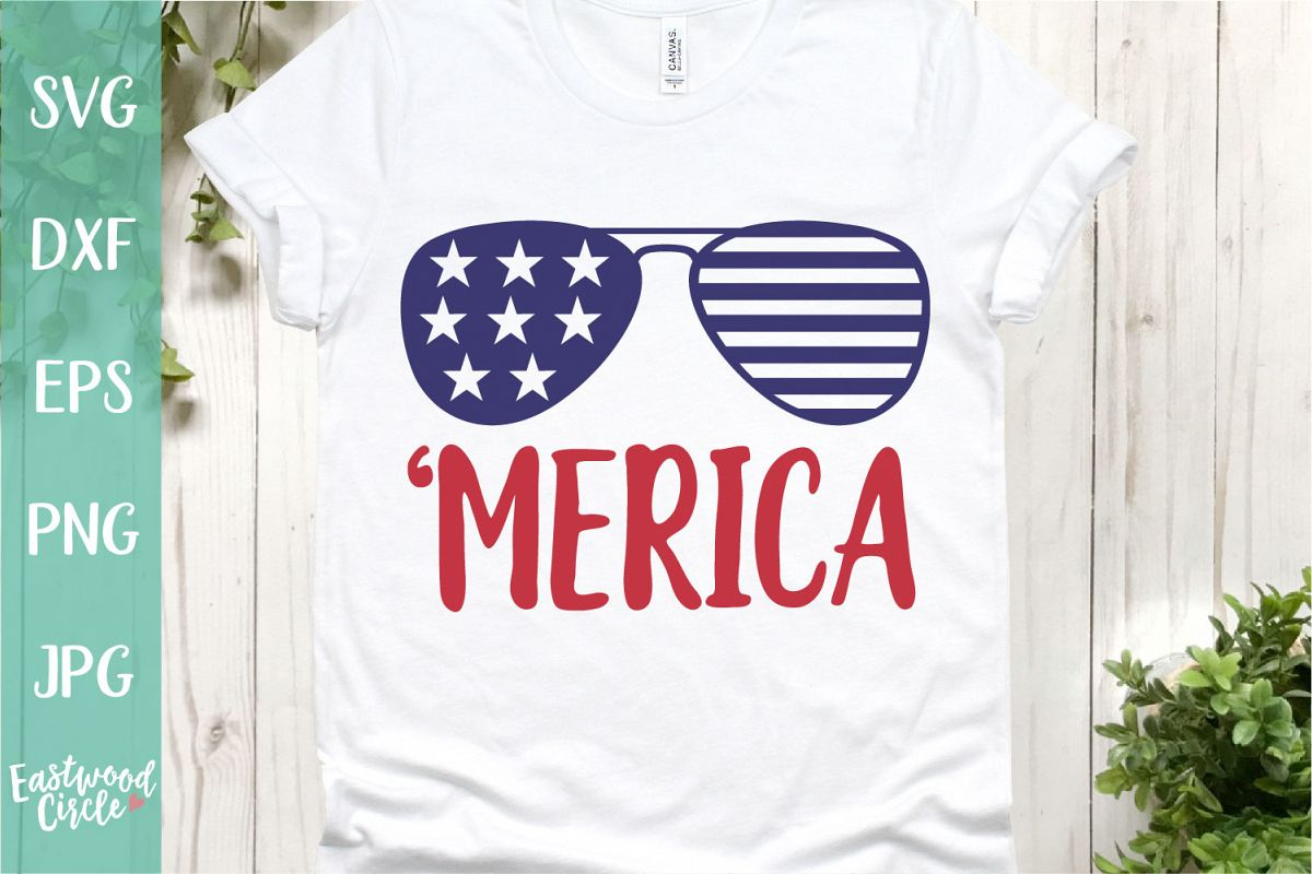 Merica Sunglasses - A 4th of July SVG Cut File example image 1