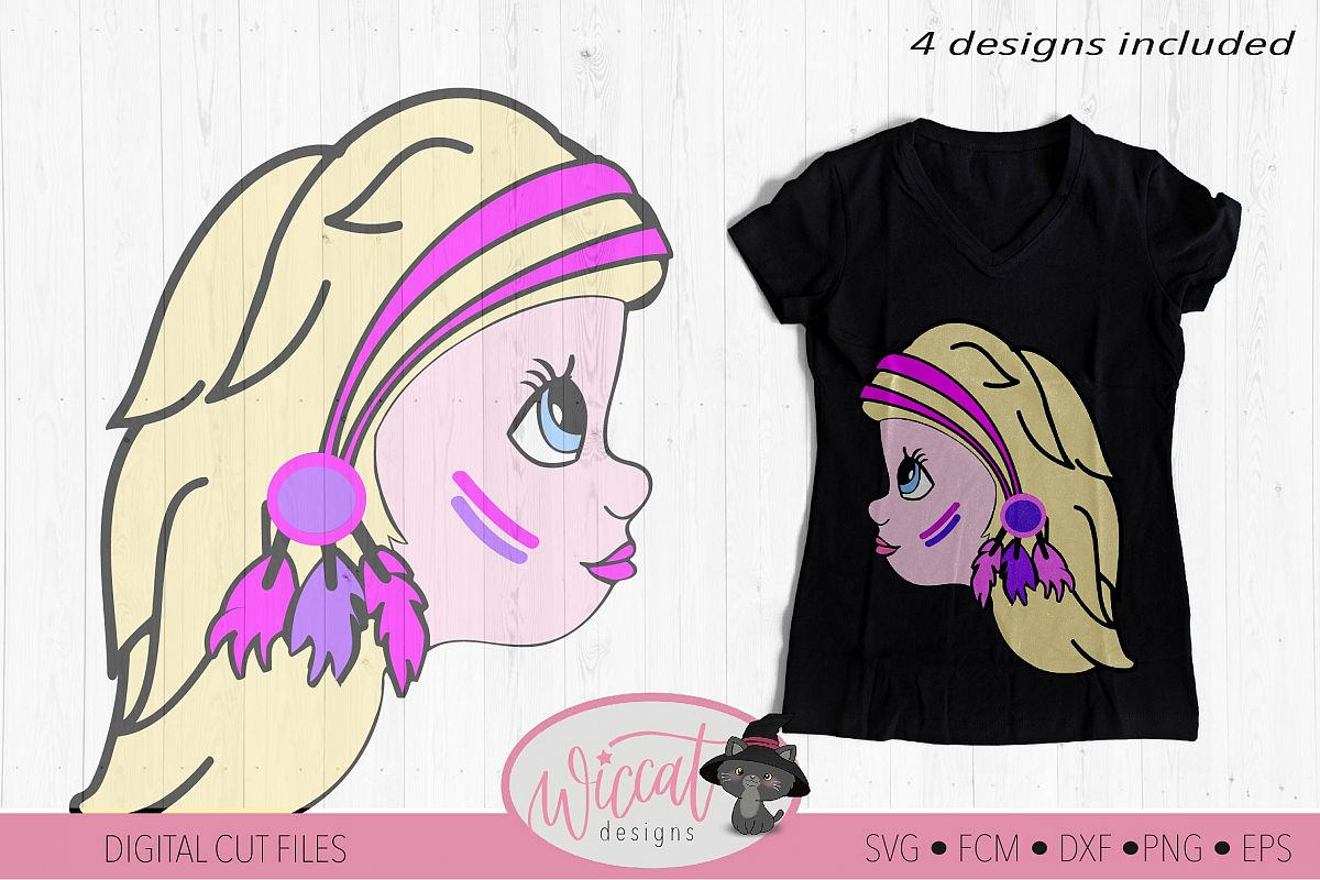 Character Girl svg, Boho girl, indian headband svg example image 1