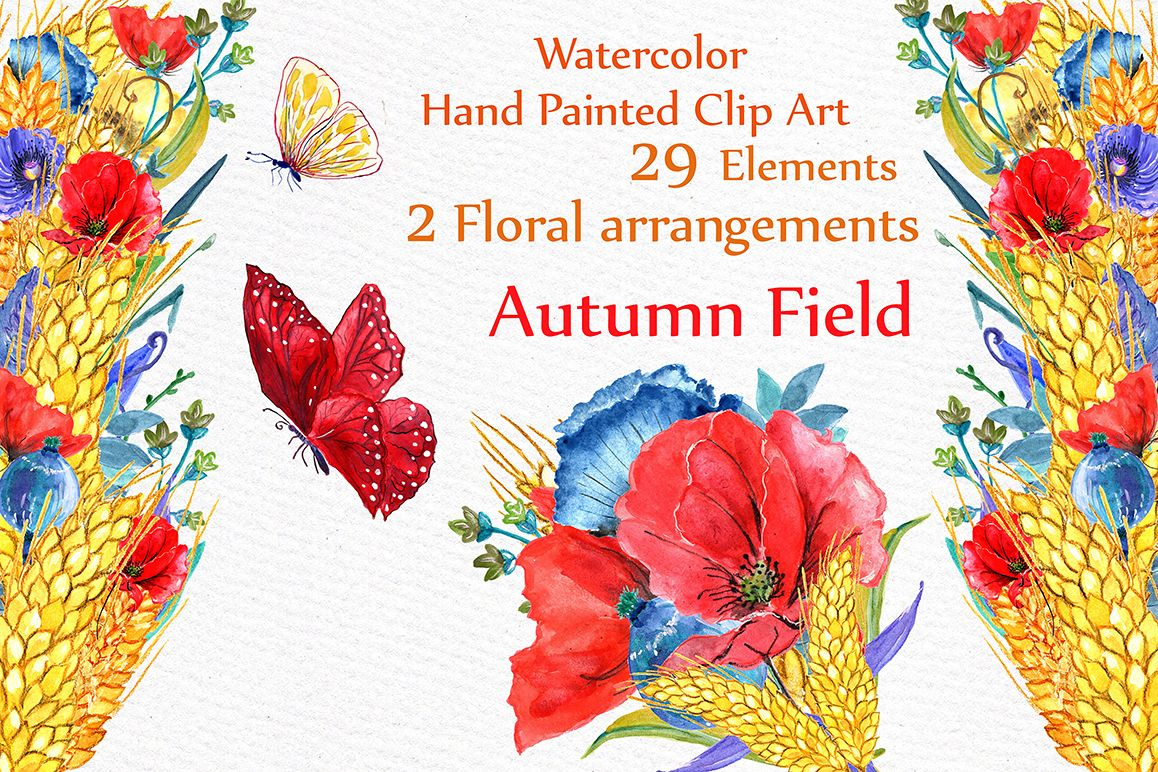 Watercolor poppies clipart example image 1