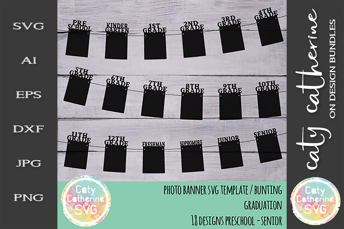 Graduation Photo Banner Bunting SVG Template example image 1