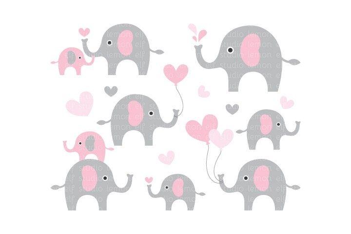 Cute Elephants-Digital Clipart (LES.CL10B) example image 1