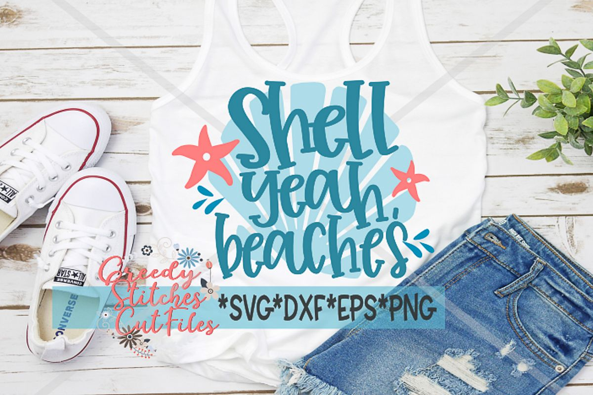 Shell Yeah Beaches SVG| SVG, DXF, EPS, PNG example image 1