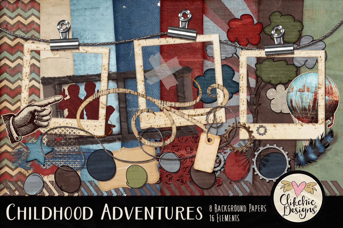 Digital Scrapbook Kit - Childhood Adventures Clipart example image 1
