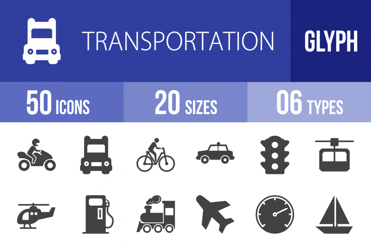 50 Transportation Glyph Icons example image 1