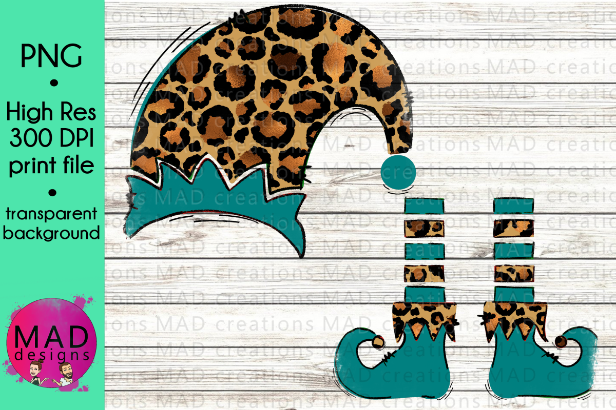 Christmas Elf - Add Your Own Text Template - Leopard Print example image 1