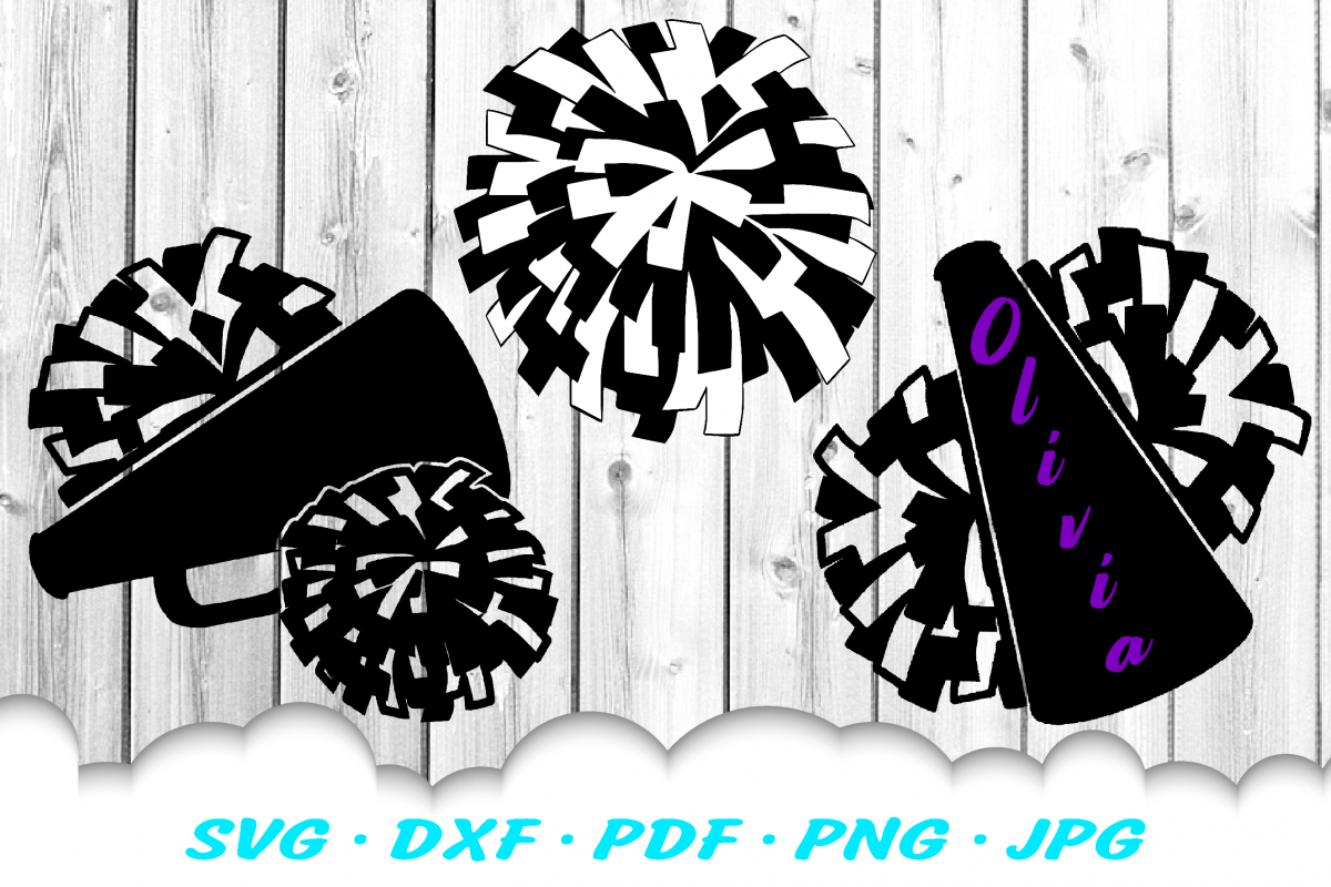 Cheerleader Cheer Megaphone Poms SVG DXF Cut Files Bundle example image 1