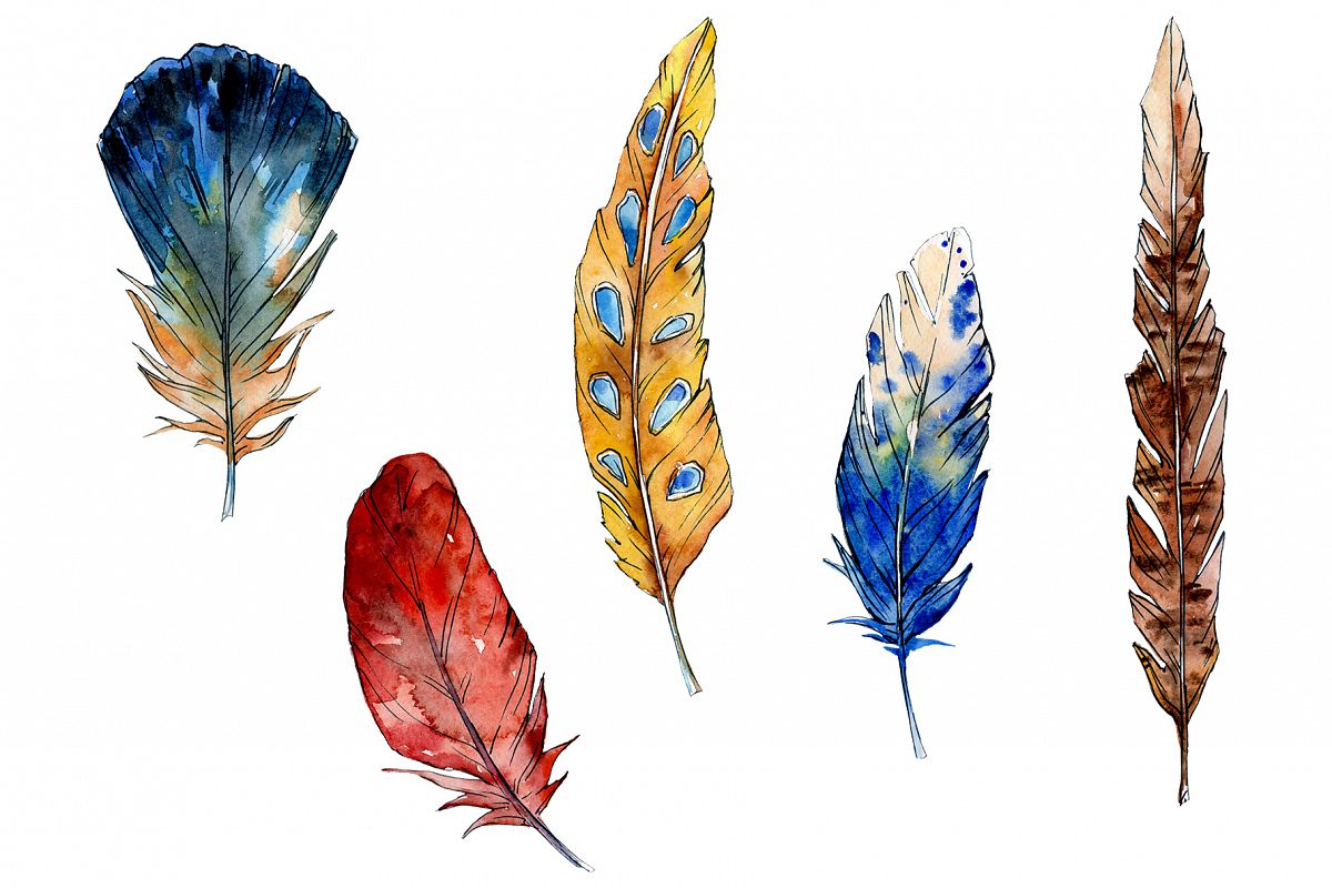 Magic feather Dream watercolor png