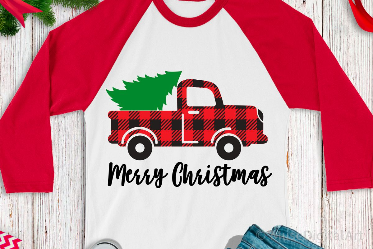 Merry Christmas Svg, Buffalo Plaid Svg, Red Truck Svg File example image 1