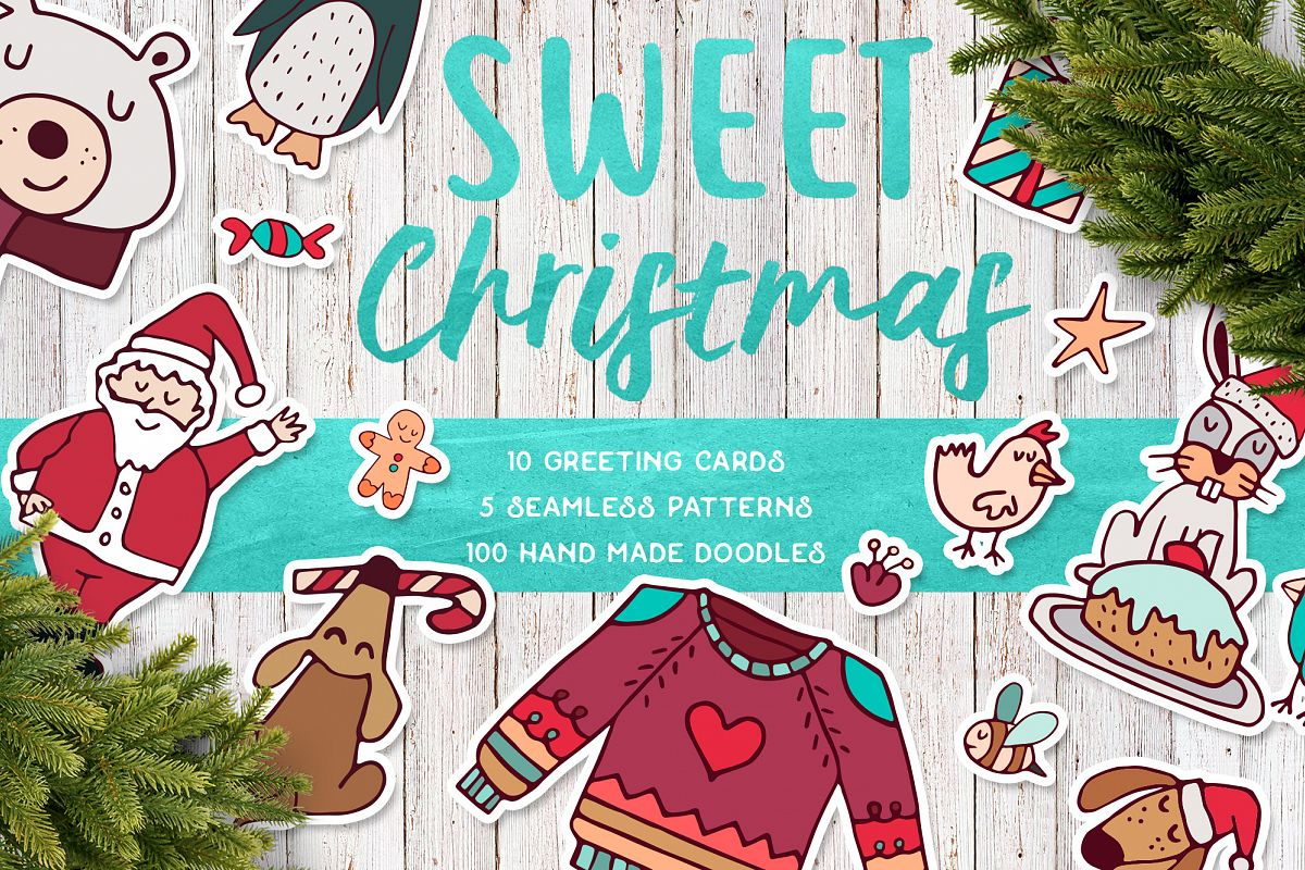 Sweet Christmas: hand drawn set with cute animals example image 1