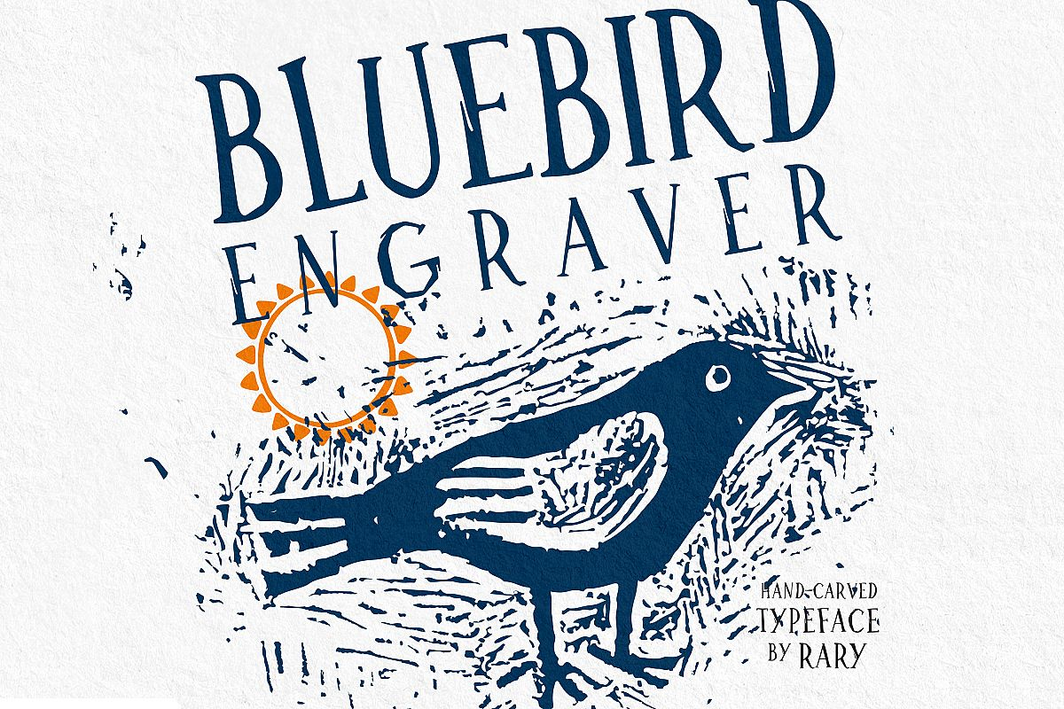 Bluebird engraver Font | An artisan hand-made stamp type. example image 1
