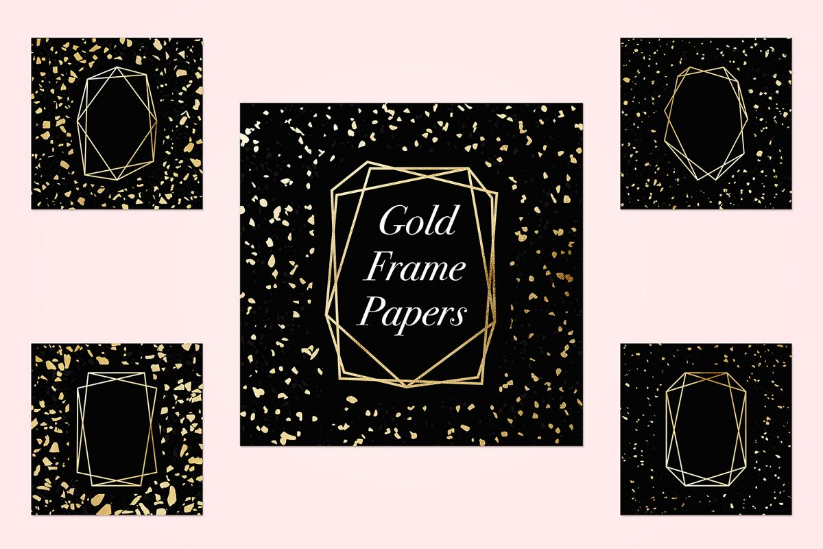 Gold Geometric Frames example image 1