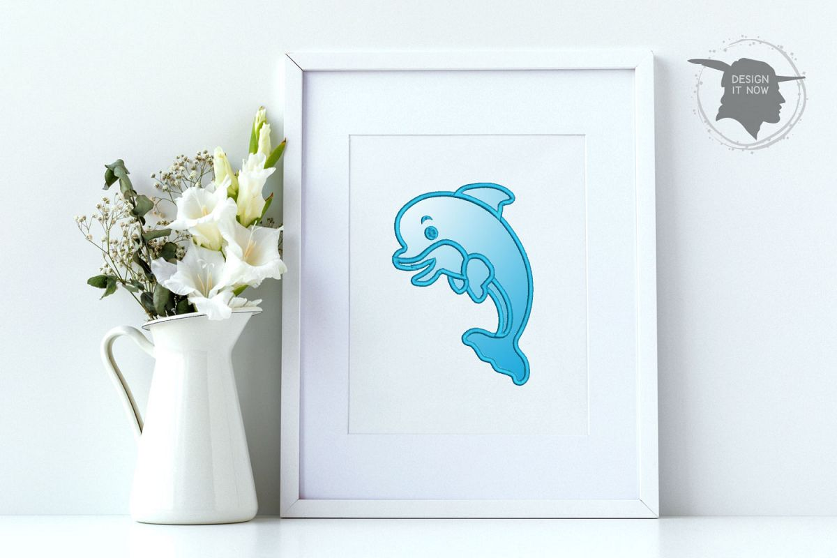 Dolphin Applique Embroidery Design, Sea Embroidery Pattern example image 1