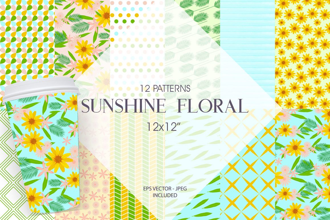 Sunshine Florals Pattern collection, vector ai, eps and jpeg example image 1