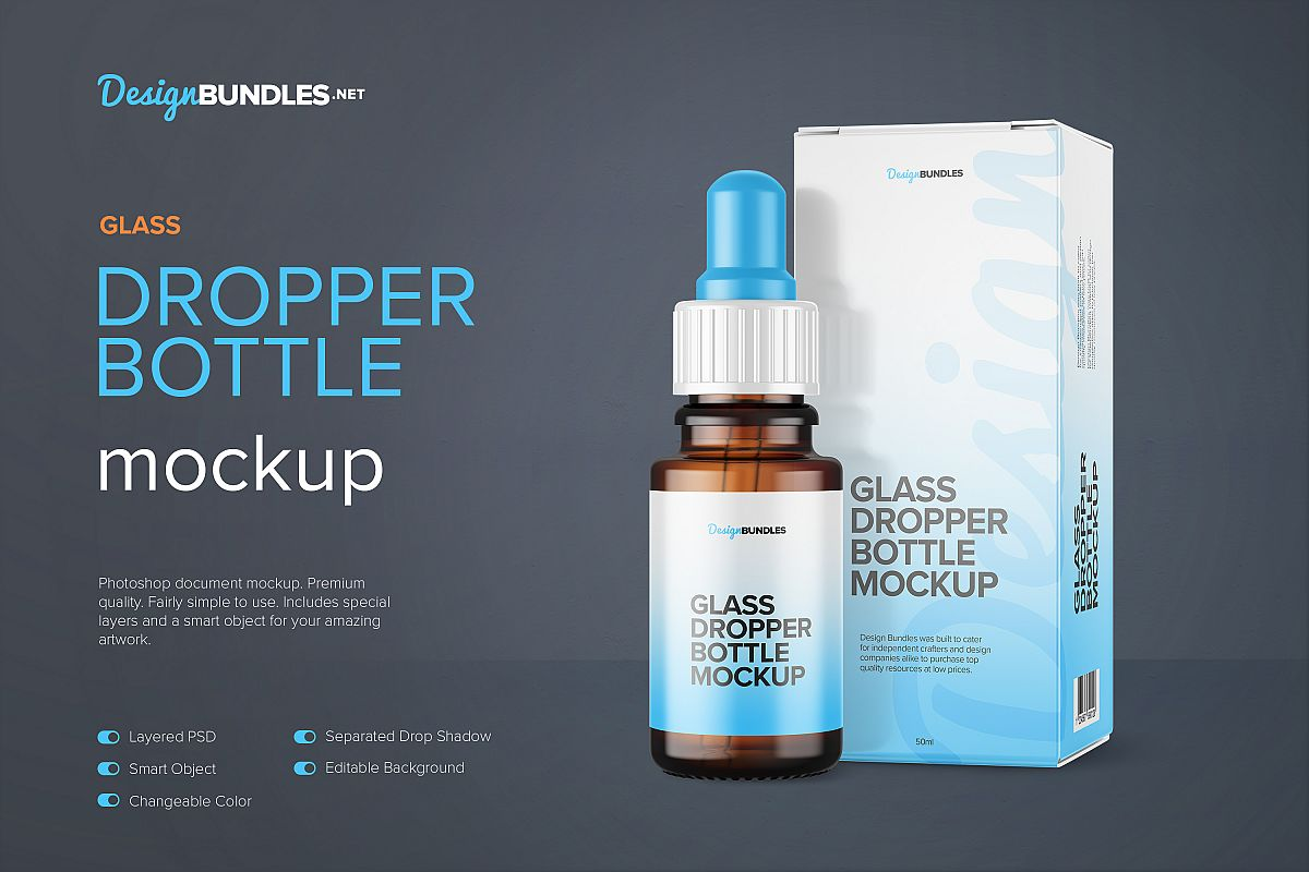 Amber Glass Dropper Bottle with Box Mockup example image 1