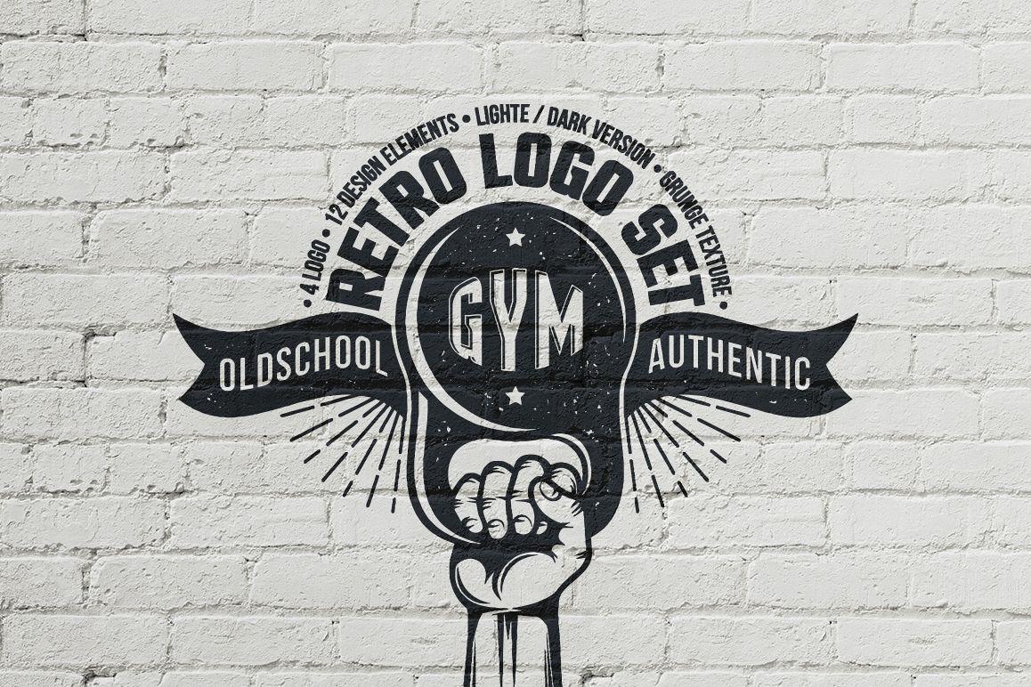 Gym retro logo example image 1