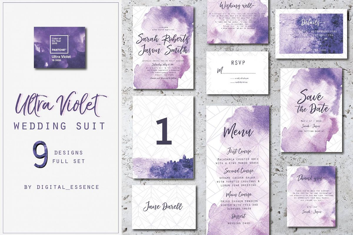 Ultra violet wedding invitation suit by | Design Bundles
