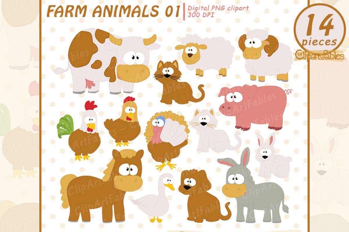 Farm clip art set, Barnyard clipart, cute farm animals example image 1