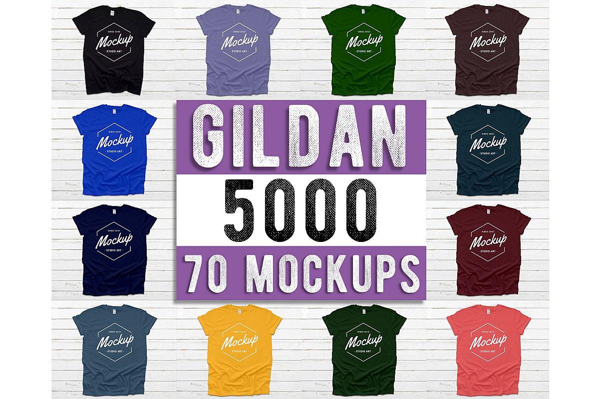 Gildan 5000 T-Shirt Mockup Mega Bundle, Unisex Shirt Mockups example image 1