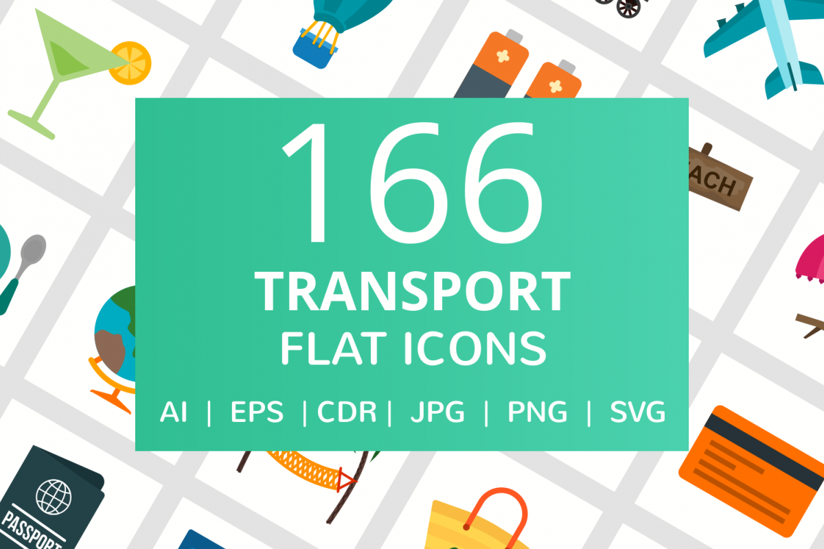166 Transport Flat Icons example image 1