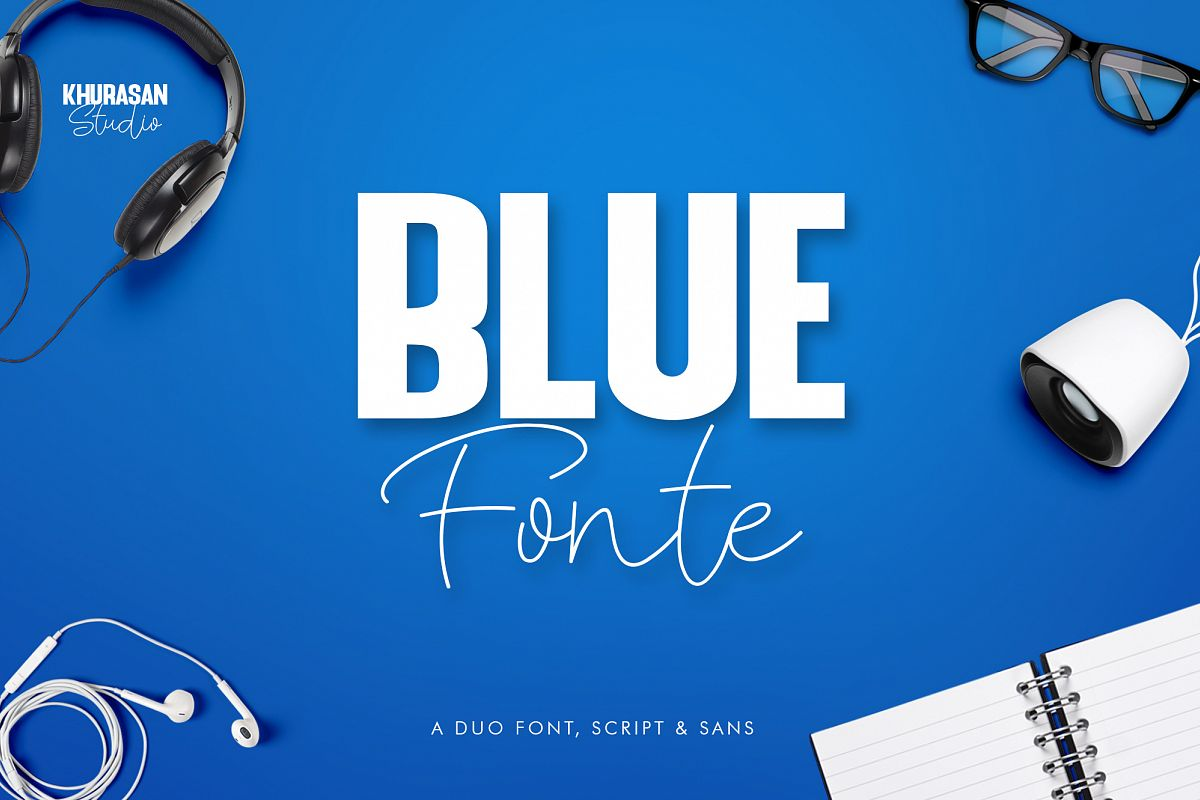 Blue Fonte Font Duo example image 1