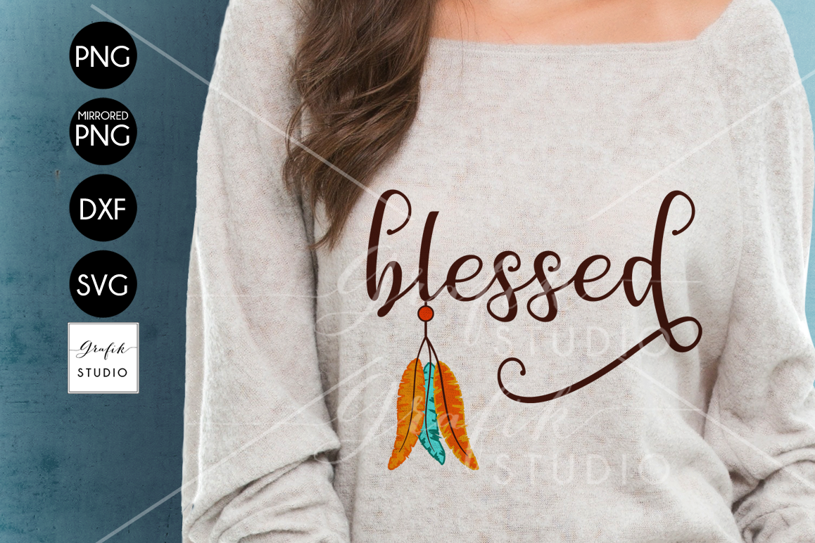 Feathers Native Blessed Thanksgiving SVG File, DXF file, PNG file example image 1