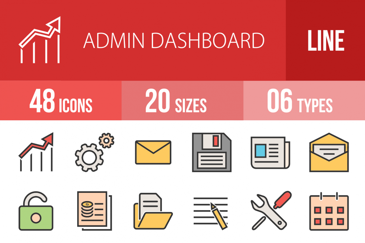 48 Admin Dashboard Linear Multicolor Icons example image 1
