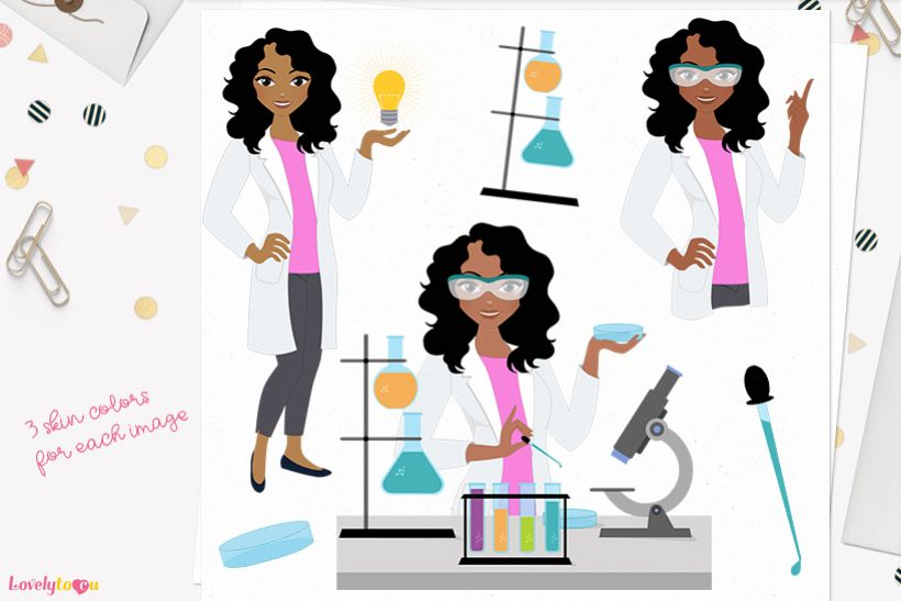 Scientist woman character clip art L292 Dezi example image 1