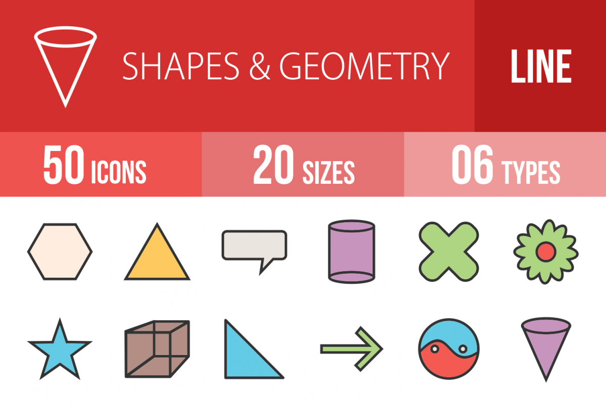 50 Shapes & Geometry Linear Multicolor Icons example image 1