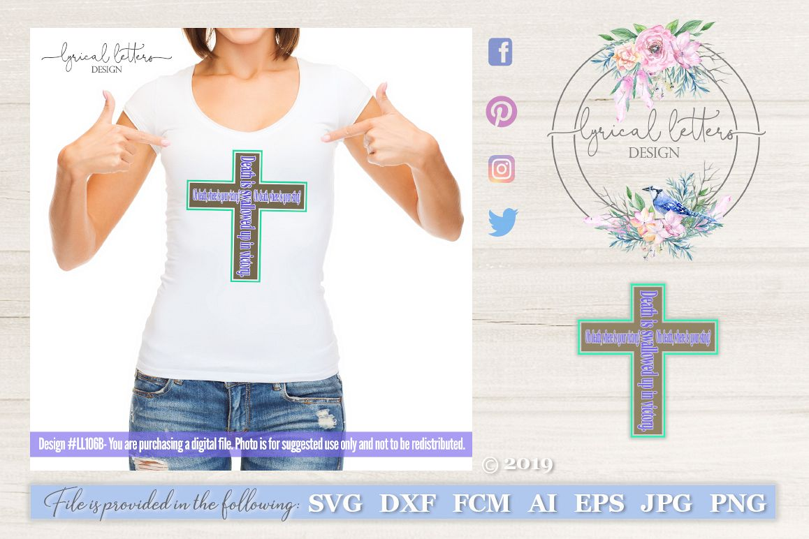 Death Where Is Your Sting Easter Cross SVG DXF FCM LL106 example image 1